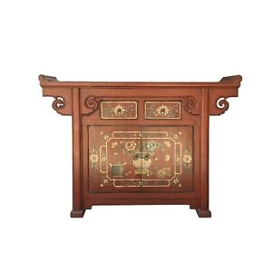 Chinese Distressed Brick Red Flower Altar Console Side Table Cabinet cs6177