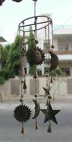 Sun N Moon Recycled Iron Hanging Windchime Beads Bells Suncatcher Indian Antique
