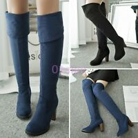 Womens Stretchy Velvet Over Knee High Block Heel Boots Zip Shoes Plus Size 4-12