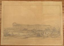 Old Master drawing Salvatore Candido 1842 Greek temple De Canson 12x16