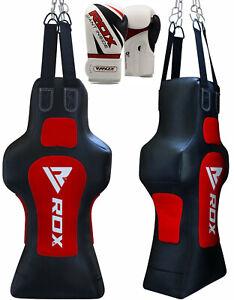 RDX Heavy Punch Bag Torso Dummy Boxing Gloves Grappling Body Slam Man Pads Red