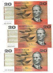 3 X TWENTY DOLLAR NOTES (ID22) PHILLIPS WHEELER KNIGHT STONE JOHNSTN FRASER