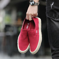 Men's Canvas Shoes Lazy Slip-on Loafers Comfortable Flat Casual Shoes Breathable