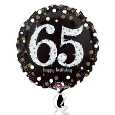"65th HAPPY BIRTHDAY 18"" Round Black & Gold Foil Helium BALLOON Party 65"