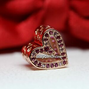 Authentic PANDORA Charm Sparkling Ruby Red & Pink Freehand Heart 788692C02