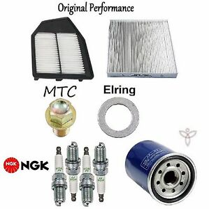 Tune Up KIT Cabin Air Oil Filters Plugs for Honda Accord L4; 2.4L 2008-2012