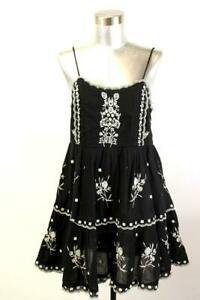 URBAN OUTFITTERS Black BABYDOLL SCALLOP DRESS Embroidered Sundress Modern SMALL