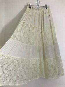 Vintage Boho 70s White Peasant Midi Skirt Size 10/12 Lace Effect Prairie Hippie