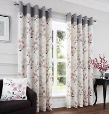 BLUSH PINK & GREY HEAVY POLY/COTTON.LINED EYELET CURTAINS.Choose from 4 sizes.