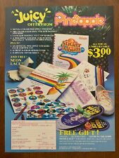 1984 Pineapple Sticker Club Vintage Print Ad/Poster 80s Retro Pop Art Décor