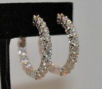NEW Hoop Earrings 3Ct Round Brilliant Cut D/VVS1 Diamond 14K White Gold Finish
