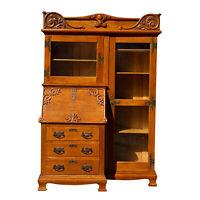 Antique Victorian Quartersawn Oak Bookcase Side by Side Secretary by Larkin