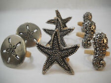 Seahorse Starfish Sand Shell Metal Napkin Rings By DII Designs Import
