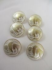"""13/16""""  20 mm White Washed GOLD  BUFFALO NICKEL Metal Shank Back  Buttons (6)"""