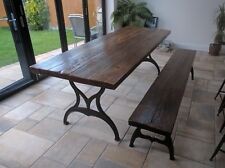 Vintage Industrial style reclaimed 7ft pine dining table on cast iron legs