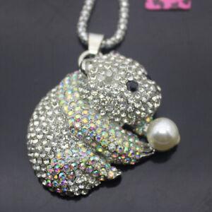 W00221   Betsey Johnson Shining crystal Cute bear  Pendant   Necklaces
