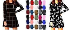 Viscose Patternless Crew Neck Skater Dresses for Women