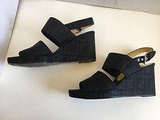 Auth! * FENDI * ITALY black ZUCCA Scarpe WEDGE sandal HIGH HEELS  9