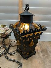 Vintage Gothic Medieval Spanish Metal & Amber Glass Hanging Light Fixture