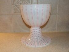 LIBBEY NASH ART GLASS CHALICE FOOTED BOWL OPALESCENT ZIPPER PATTERN 6""