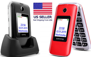 📱SOS SENIORS ELDERLY PHONE 3G Unlocked Senior Flip Screen Large Keypad T-Mobile