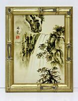 Waterfall 12 x 16 Art Oil Painting on Canvas w/Custom Bamboo Frame