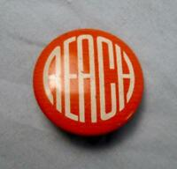 Vintage Pinback Button Reach Orange With White Lettering Small Unknown Maker (O)