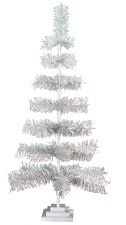 """36"""" Retro Silver Tinsel Christmas Tree Vintage Feather Style Xmass Holiday 3Ft"""