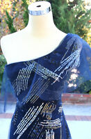 NWT BCBG MAX AZRIA $498 NAVY Womens Prom Evening Gown 2