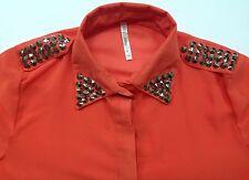 Kate Collection Womens S Orange Studs Detailing Button Front LS Blouse Shirt EUC