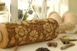 Flowers Engraved Rolling Pin Textured Rolling Carved Embossed Dough Roller