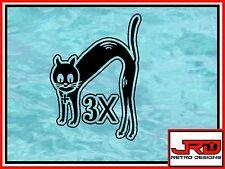 Cat Times 3 Vinyl Sticker in Black