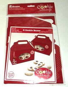 """The Cookie Exchange HAPPY HOLIDAYS 2 Cookie Boxes 6.25""""x6""""x3"""" 15.9cmx15.2cmx7.6"""