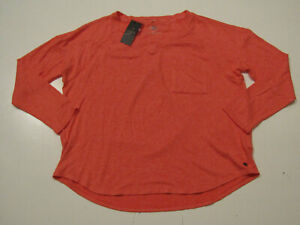 NWT Womens CALVIN KLEIN Coral V-Neck Pullover L/S Tunic Sweater Shirt Size XL