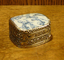Oriental Trinket Box #1826H blue/cream porcelain inlay NEW from Retail Store