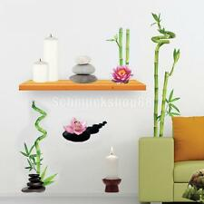 Vintage Bamboo Lotus Flower 3D Room Wall Sticker PVC Decal 70*50cm
