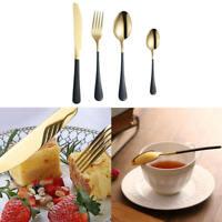 Luxury Black Gold Cutlery Flatware Spoon Forks Knives Set Tableware Silverware