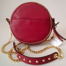 *BRAND NEW WITH TAG* NEIMAN MARCUS CHAINS STUDS ROUND SMALL SHOULDER BAG - RED