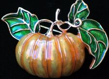 FALL AUTUMN ORANGE HALLOWEEN THANKSGIVING GOURD PUMPKIN PIN BROOCH JEWELRY 1.5""