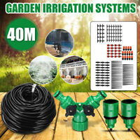 40m Water Irrigation System Kit  Auto Micro Drip Garden Lawn Plant Spray Set