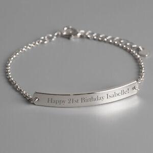 Personalised Silver Womens ID Bracelets - Add Message