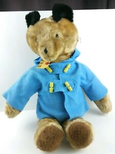 "Eden Toys Paddington Bear Plush 19"" Sewn in Haiti Blue Felt Stiff Vintage Toy"