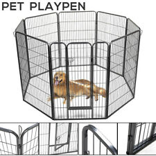 """47"""" Pet Fence Dog Playpen Exercise Cage Kennel w/ Door 8 Panel Outdoor Indoor"""