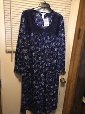 c6478c57a0 ADONNA SLEEPWEAR WOMAN LONG SLEEVE GOWN SIZE 2X NAVY DELICATE BONQUE~100%  POLYES