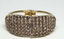 GORGEOUS Vintage Art Deco Style Lavender Pave Rhinestone Clamper Bracelet-ESTATE