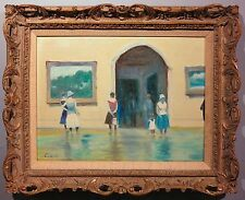 Museum Interior 1960's exhibition Impressionist oil painting Claude