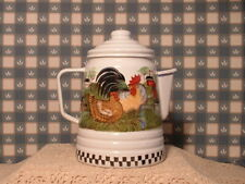 Vintage Enamel White Coffee Pot Rooster Hen Country Farms Folk Art Hand Painted