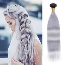 8A Ombre Black/Silver Grey Brazilian 100% Human Hair Extensions Weft 100g/Bundle
