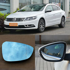 Rearview Mirror Blue Glasses LED Turn Signal with Heating For Volkswagen CC