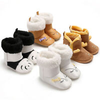 Toddler Newborn Baby Boy Girl Cartoon Crib Winter Boots Prewalker Thick Shoes AU